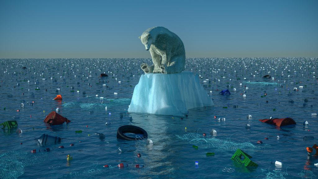 polar bear sting on a small block of ice surrounded by garbage in the ocean